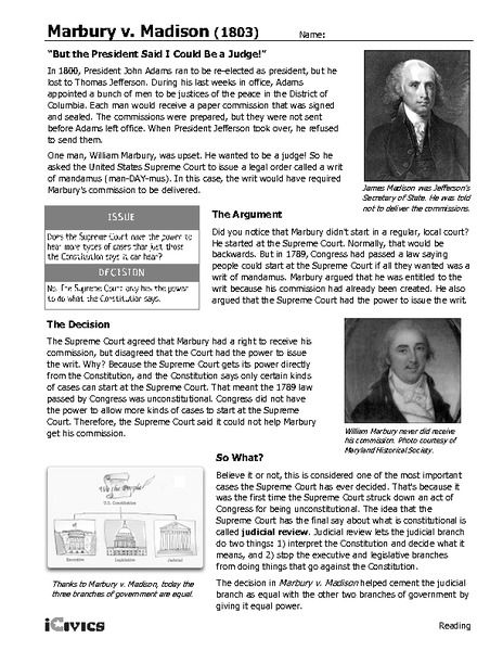 Marbury V Madison 1803 6th 12th Grade Worksheet Lesson ...