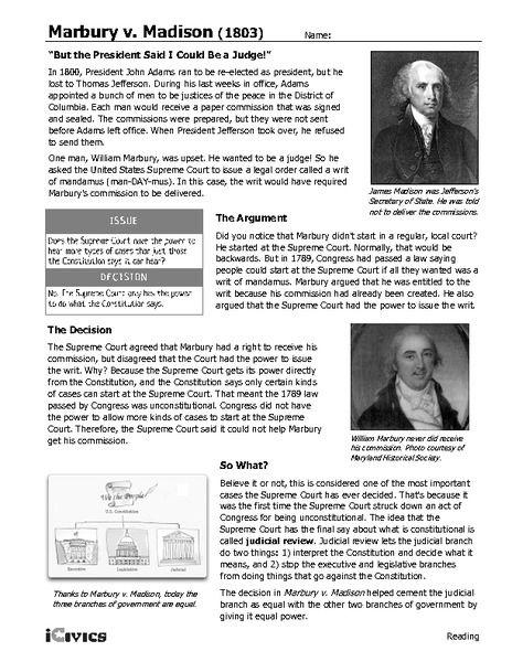Marbury V Madison 1803 6th 12th Grade Worksheet Lesson Planet Us