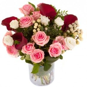 Grenadine Roses Heaven Arums Mauves Lisianthus Blancs Et