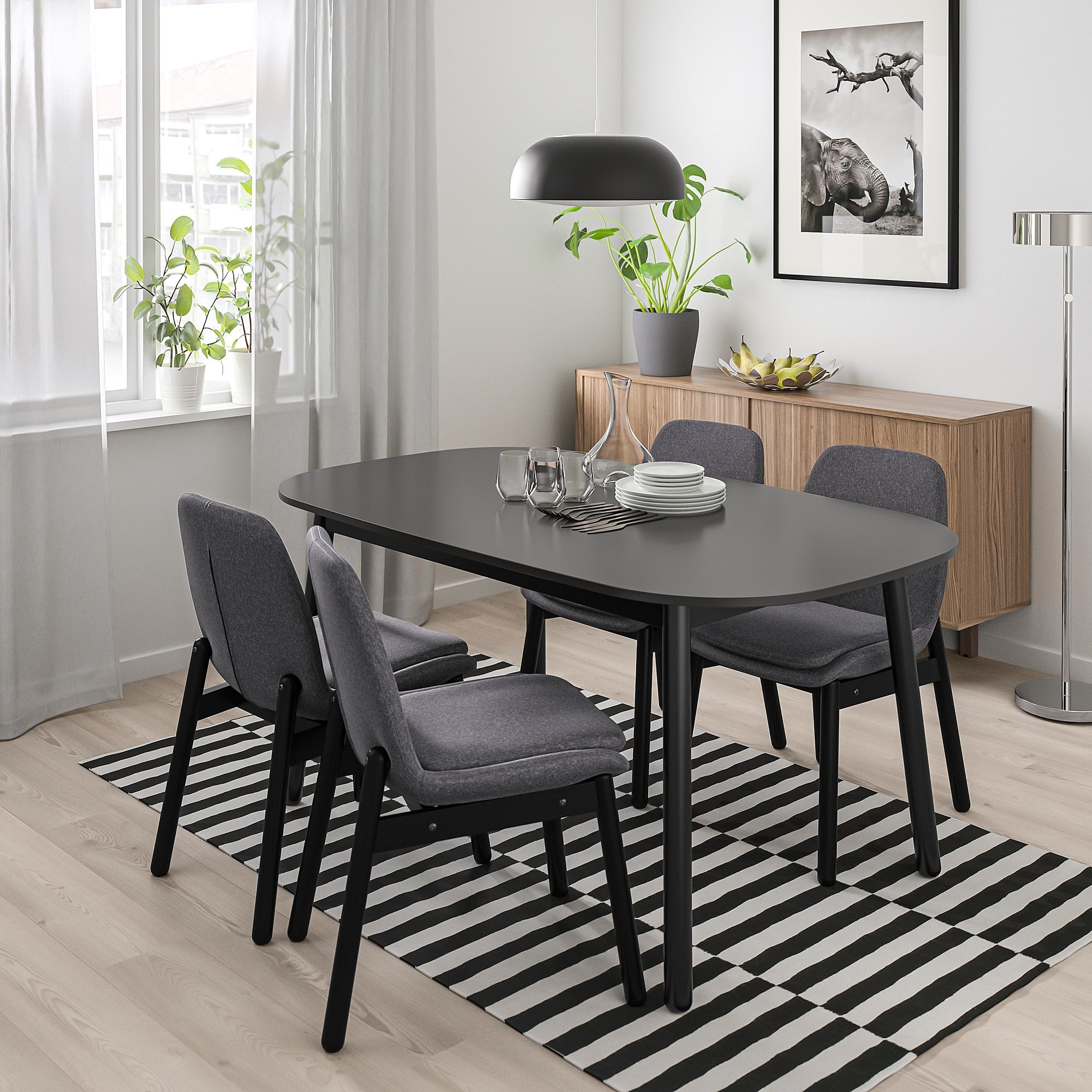 Vedbo Dining Table Black Ikea In 2021 Dining Table Black Dining Table Dining Room Small