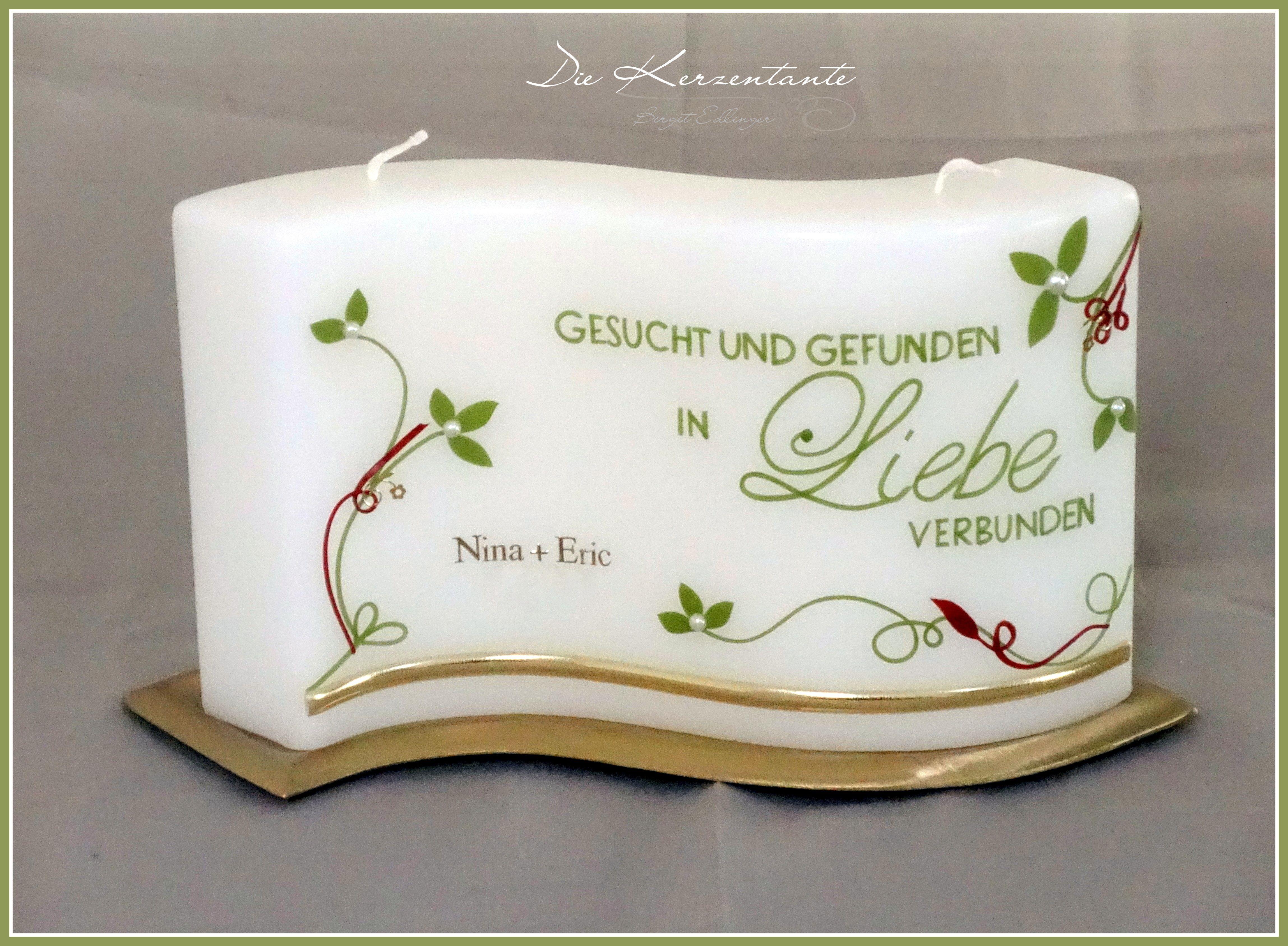 romantische Hochzeitskerze von www.diekerzentante.at Die Farben sind ...