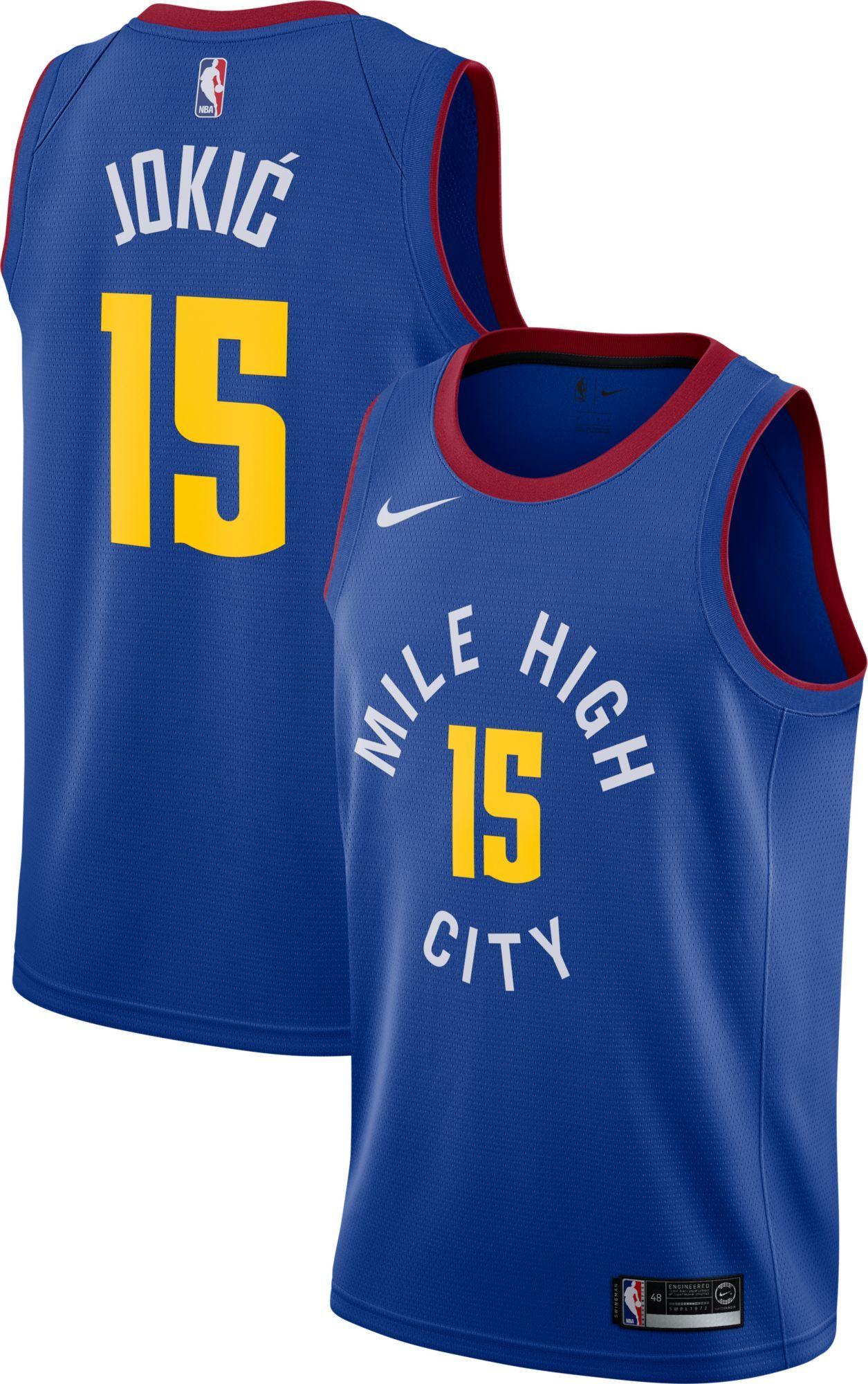 2c54a12132c Nike Men's Denver Nuggets Nikola Jokic #15 Royal Dri-FIT Swingman Jersey,  Size: XXL, Team