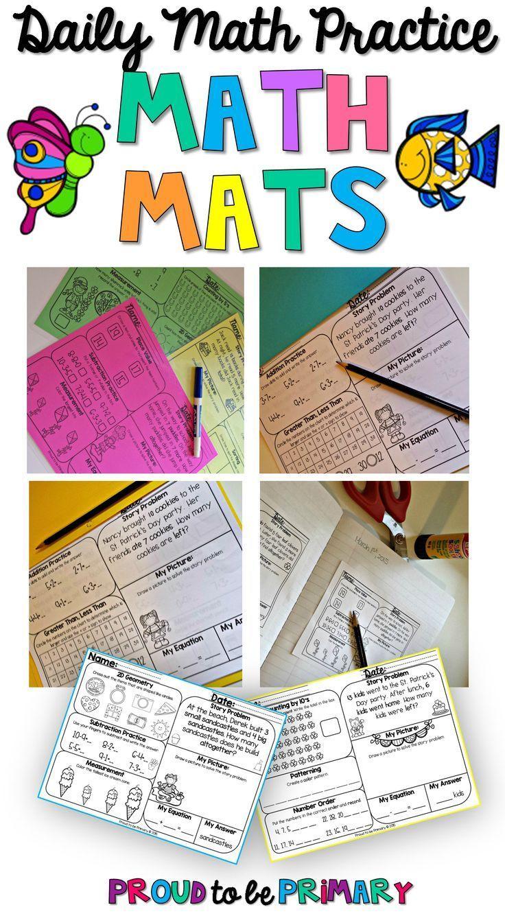 Math Review Worksheets Bundle For First Grade Math Pinterest