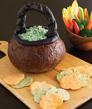 Spooky Spinach Dip in Bread Bowl Cauldron