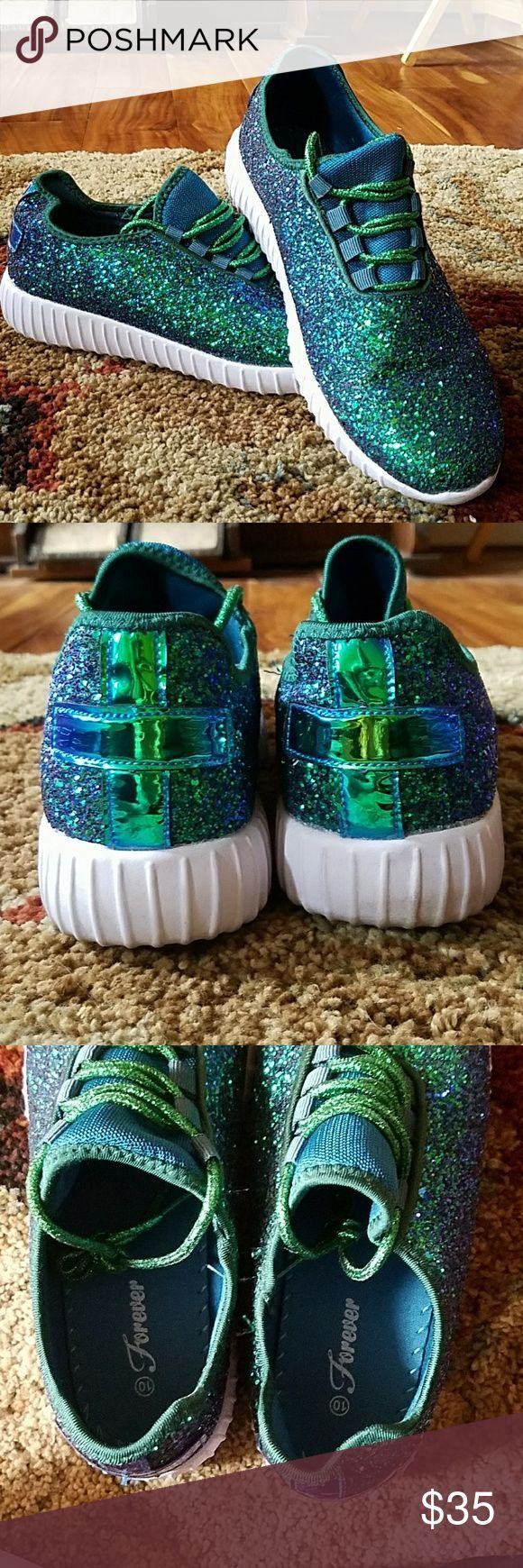 8c4f76130568 Mermaid Glitter Sneakers Teal opalescent casual sneakers. Worn for maybe 2  hours. Size ten. forever Shoes Athletic Shoes
