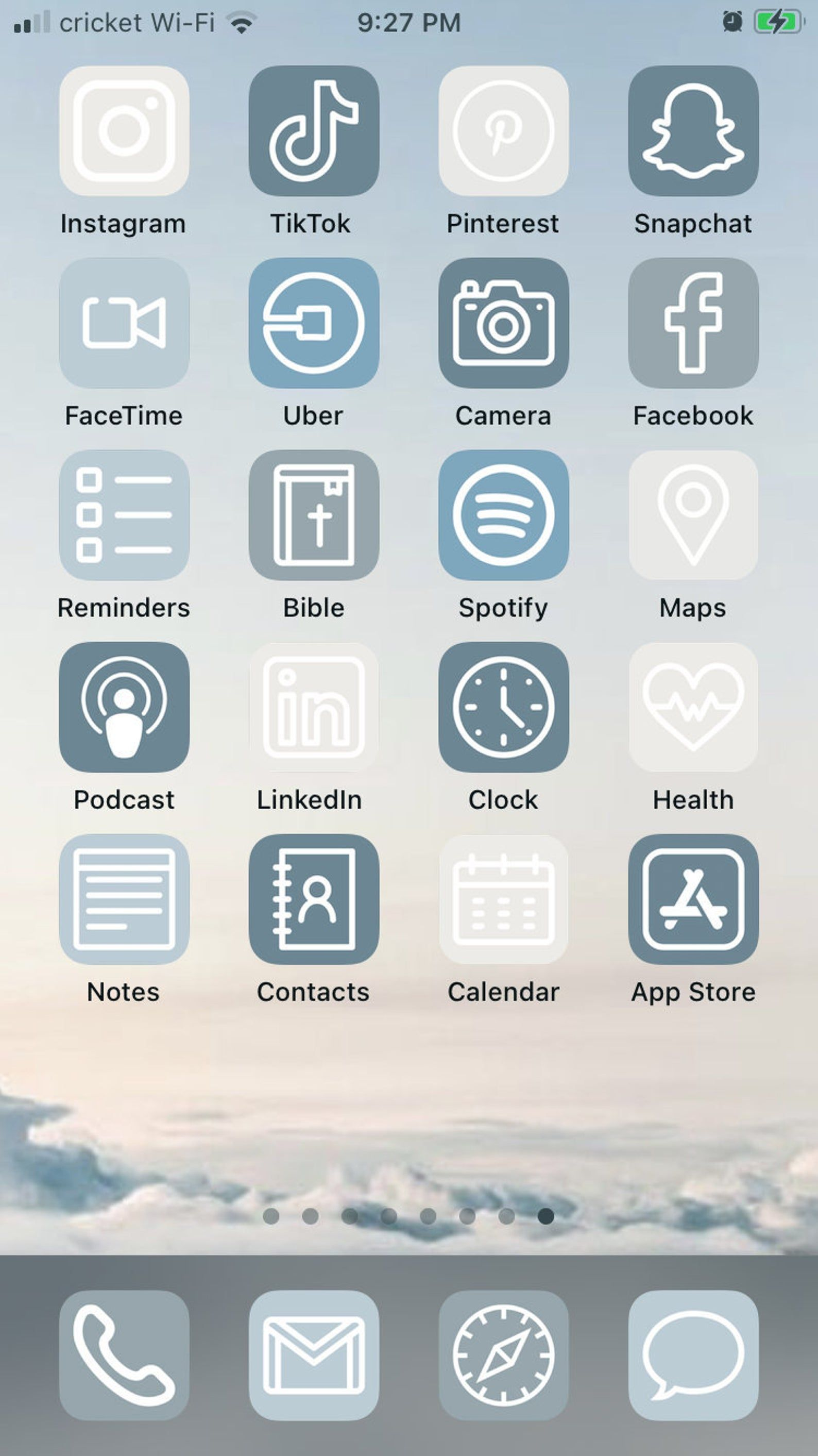 Blue Skies iOS 14 Aesthetic iPhone App Icons 50 Pa