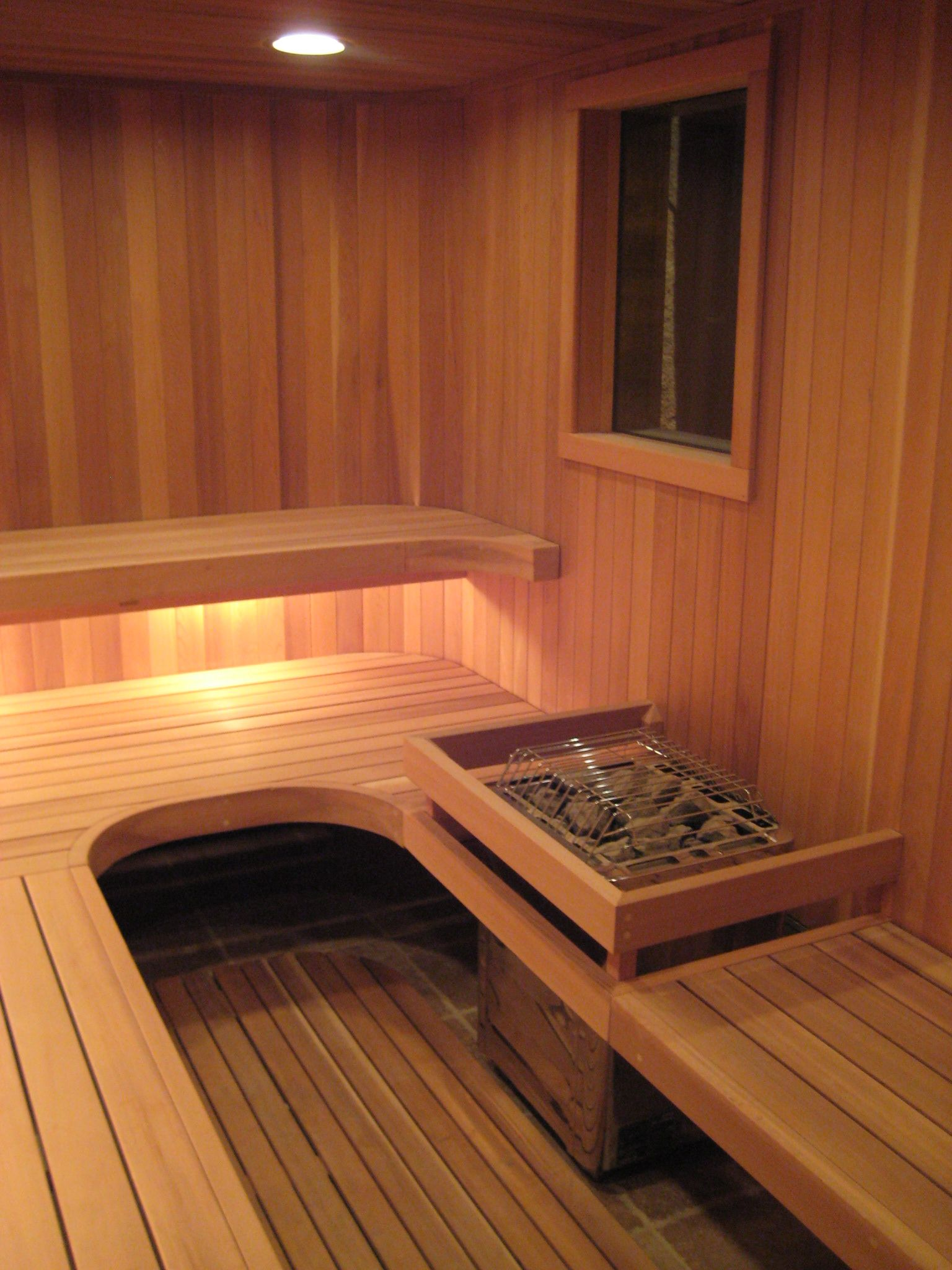 Fas Built Floating Radiused Under Lit Sauna Benches