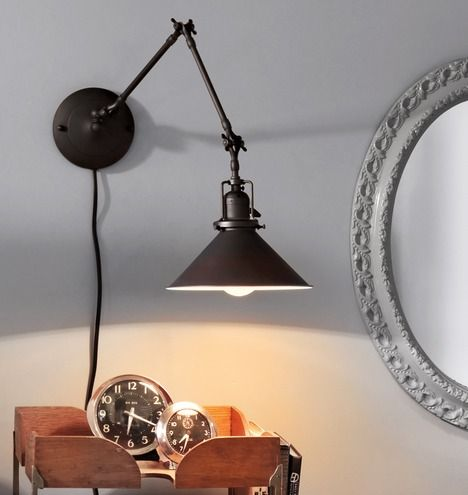 Reed Industrial Swing-Arm Wall Sconce | Rejuvenation