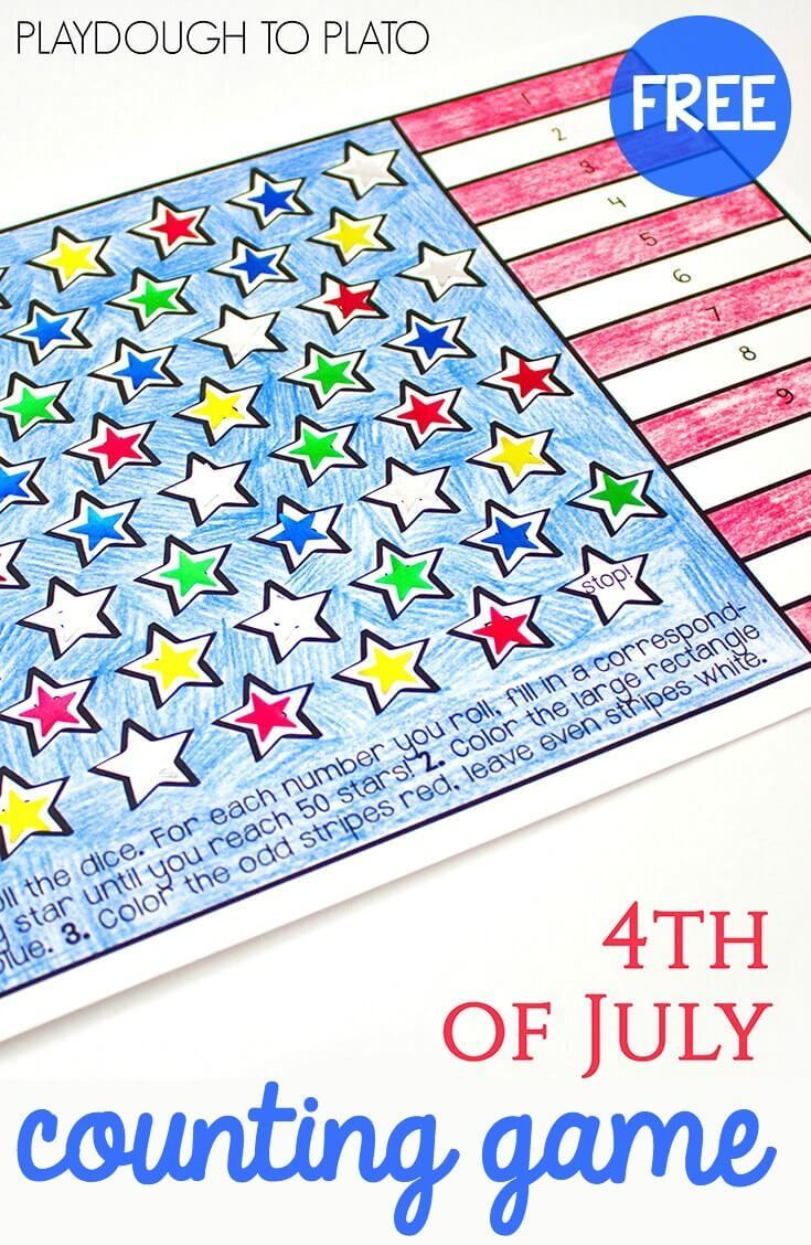 4th of July Counting Game | Counting games, Skip counting and Math