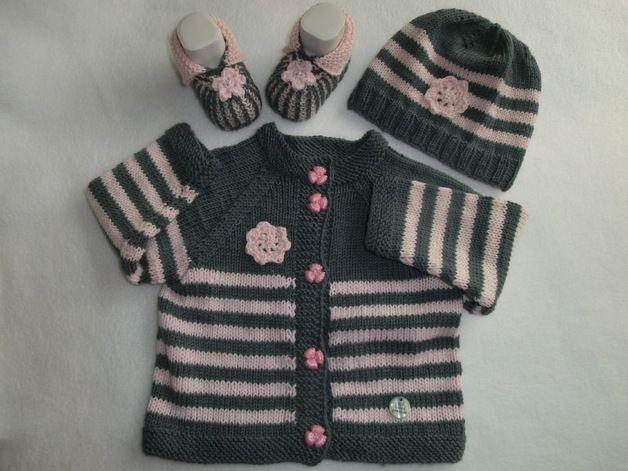 Sets - Babyjacke Babymütze NOVEMBER Gr. 62-68 gestrickt - ein Designerstück von Juttas-ZauberStrick bei DaWanda