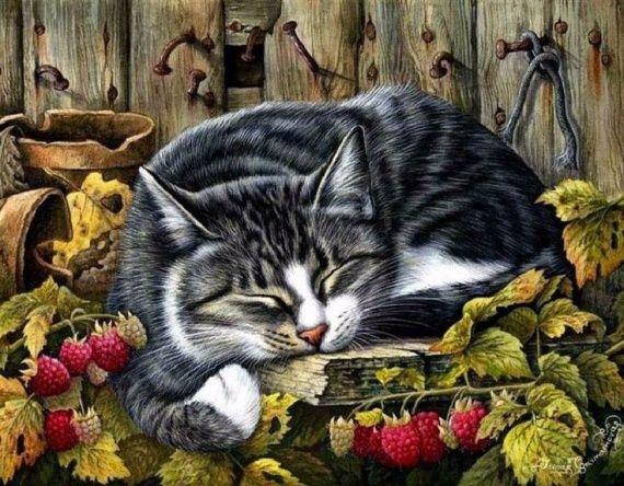 Tabby Cat Botanical It Is Autumn Print by I Garmashova