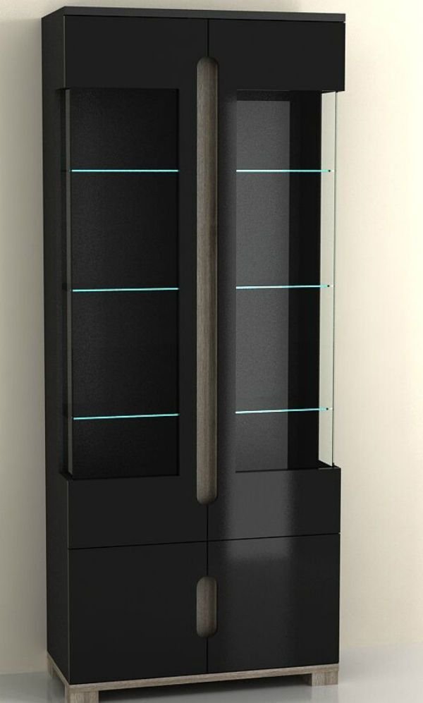 High Gloss Tall Display Cabinet Black Office Furniture 2 Glass Door LED Lights #JAFFO #Contemporary & High Gloss Tall Display Cabinet Black Office Furniture 2 Glass Door ...