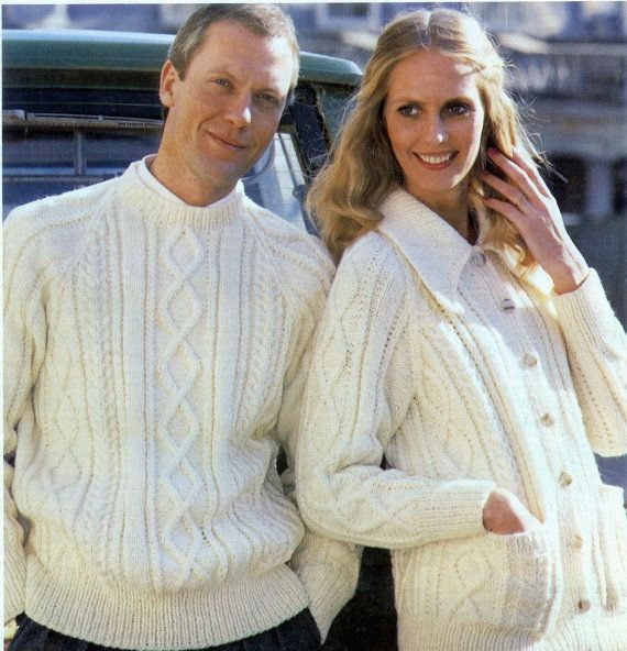 Adult Unisex Aran Fishermans Knit Sweater and Collared Long | coats ...