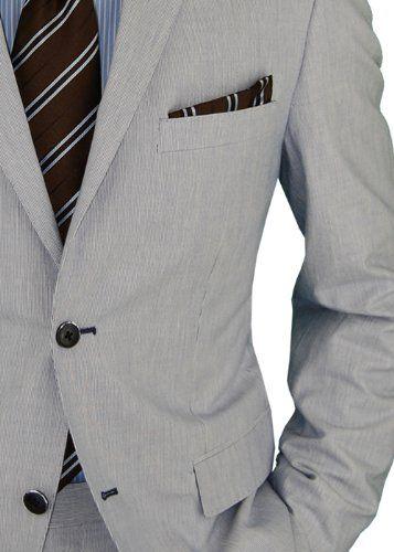 Bianco B Hombres Luz azul de dos botones de ajuste Fit Algodón Stretch  Centro Vent Traje a los hombres de Amazon Tienda de ropa  Traje de negocios  ... ecb66f01e6e