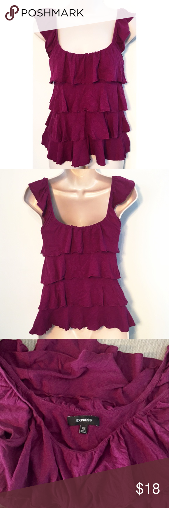 """❣BOGO 1/2 off❣🆕Express tiered ruffle tank top NWOT, flawless. Super soft cotton/modal blend. Size small. Approx 23"""" long & 15"""" flat across the bust. Very stretchy. ✖️I do NOT MODEL✖️ 🔴Bundle to save! 🔴NO TRADES. 🔴REASONABLE offers welcome via offer button. Express Tops Tank Tops"""