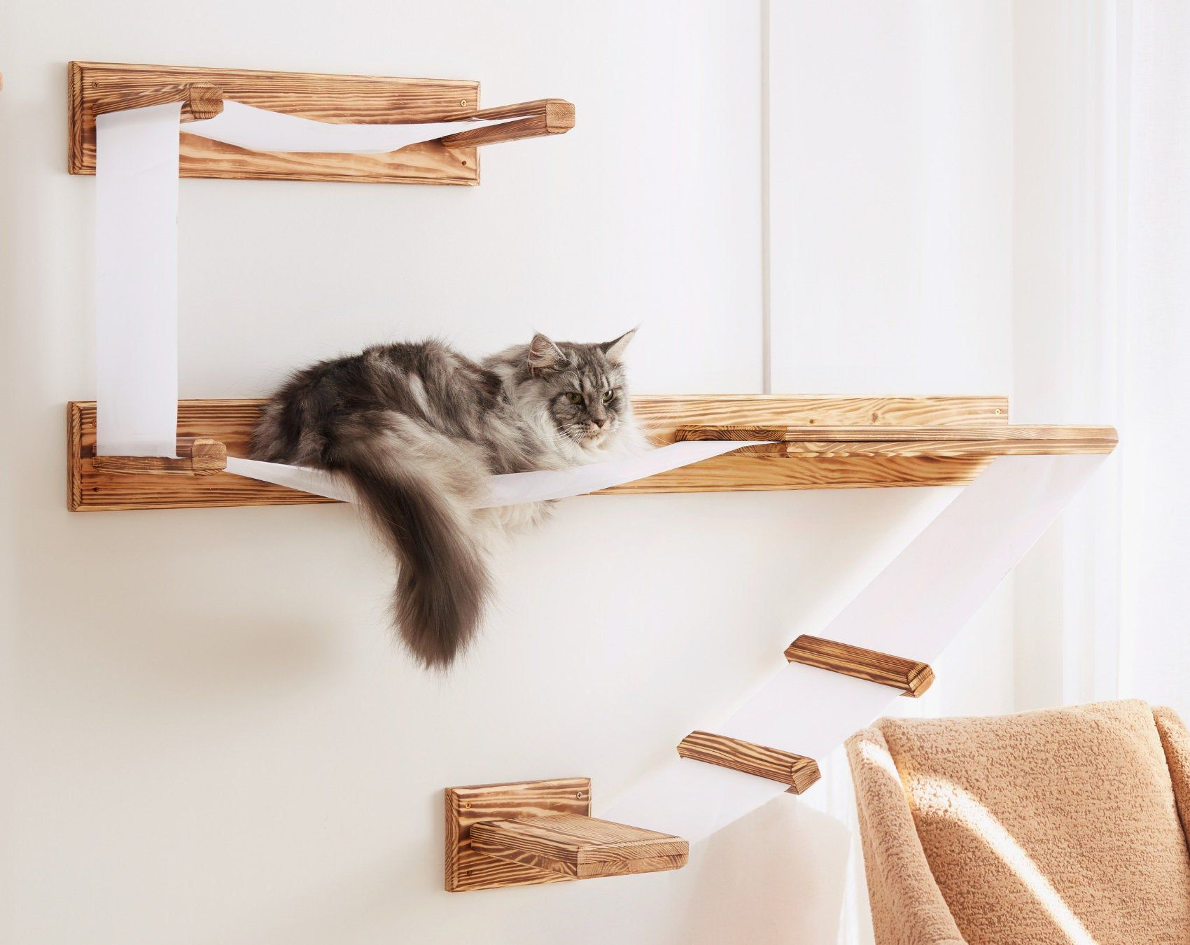 Large Wall Mounted Cat Shelf Play Platform With Bed