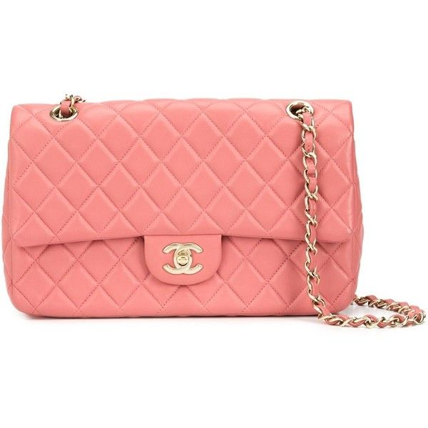 252cfb62a2d02a Chanel Vintage medium Valentines classic flap bag (19.585 RON) ❤ liked on Polyvore  featuring bags, handbags, black, chain handbags, chain purse, quilted ...