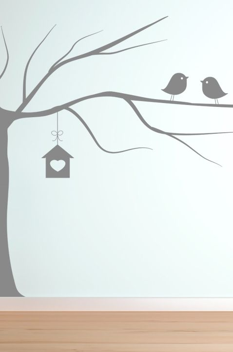 2 birds and a tree wall stickers decals vinyl decor