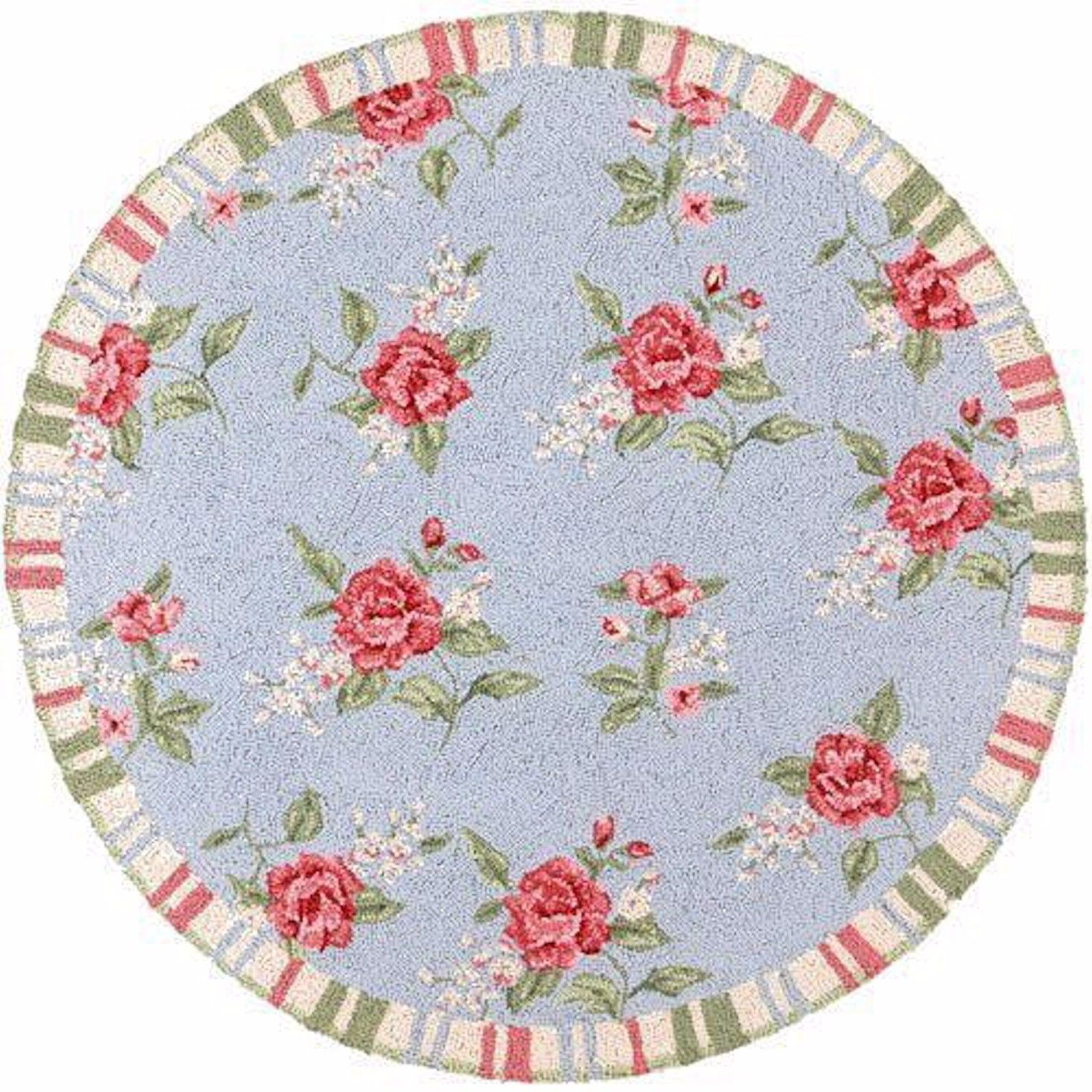 Dollhouse Miniature Pink Floral Round Circle Iron On Fabric Rug 1:12