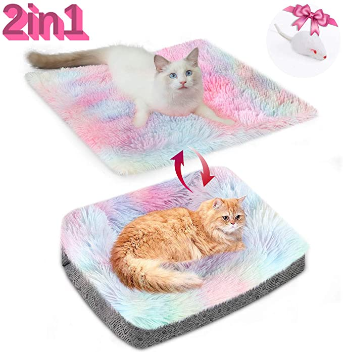 Amazon Com Chintu Cat Beds For Indoor Cats Machine Washable Cat Bed Mat Self Warming 2 In 1 Pet Beds For Medium Smal Faux Fur Pet Bed Dog Crate Mats Pet Beds