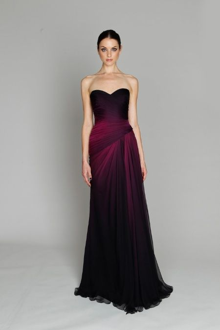 feb37be9168 purple black ombre evening gown from Monique Lhuillier