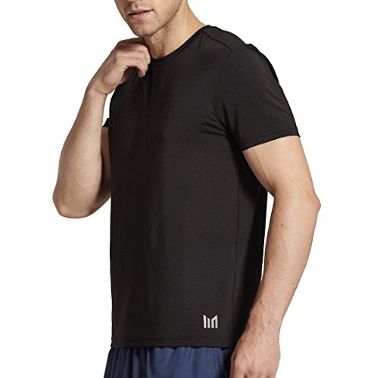 21c3f604 MOFEVER Men Fitness Workout Gym Running Short Sleeve Tee Shirts Tops Black  with Crew Neck Yoga Athletic Exercise Sports Training Quick Dry Fit ...