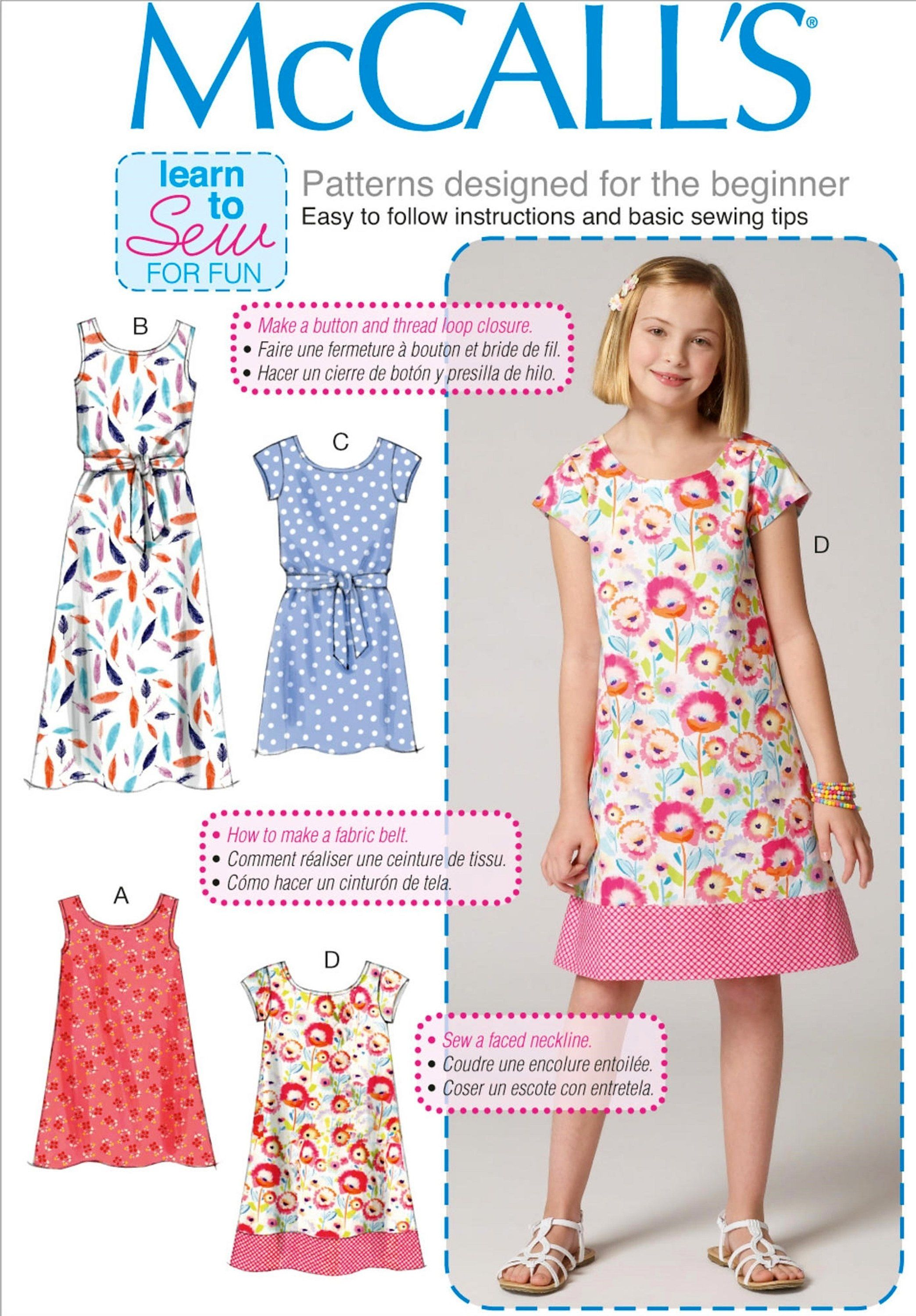 Learn to Sew a Girls\' Dress Pattern, Easy Pullover Girls\' Dress ...