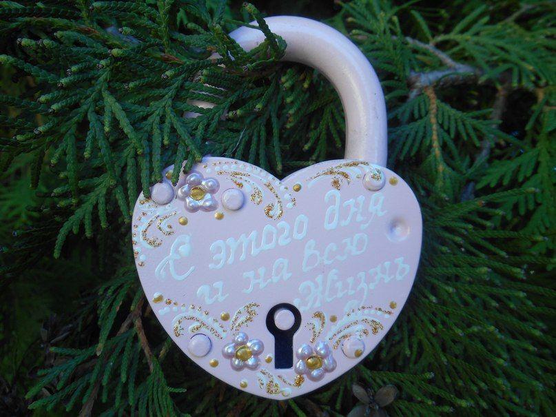 Свадебный замочек розового цвета с сиреневыми цветами из ...
