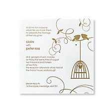 Little Lovebirds Day Invitations | Letterpress Wedding Invites Gold