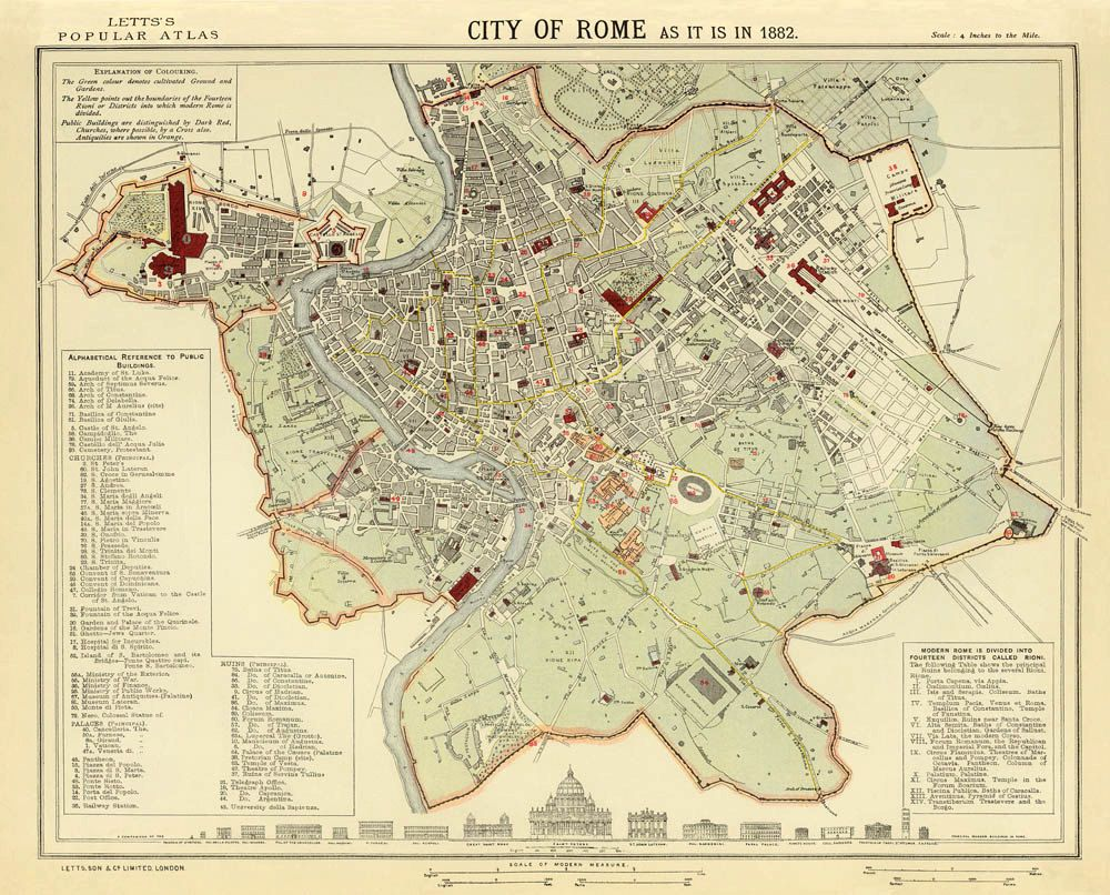 Vintage map of Rome  Maps of Rome and Vatican City  Pinterest