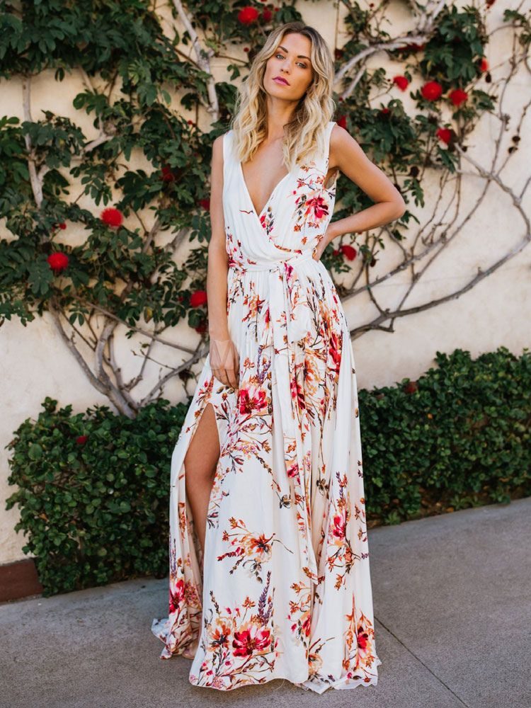 98b6de66627bd9 Floral Maxi Dress Chiffon Wrap Dress Women Split Summer Dress - Milanoo.com