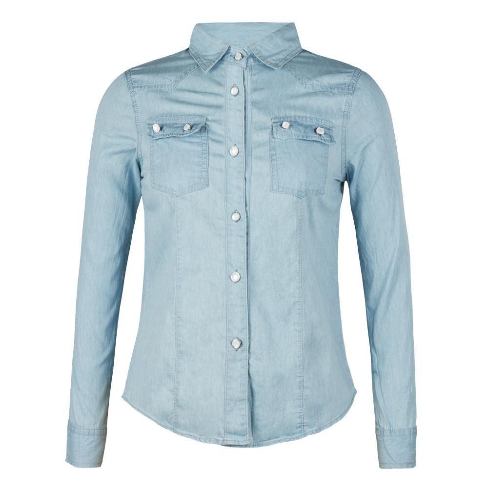 75b5548290 Spring Denim Dress Shirt Blouse Women Long Sleeved Polo Shirts Casual Button -up Tops