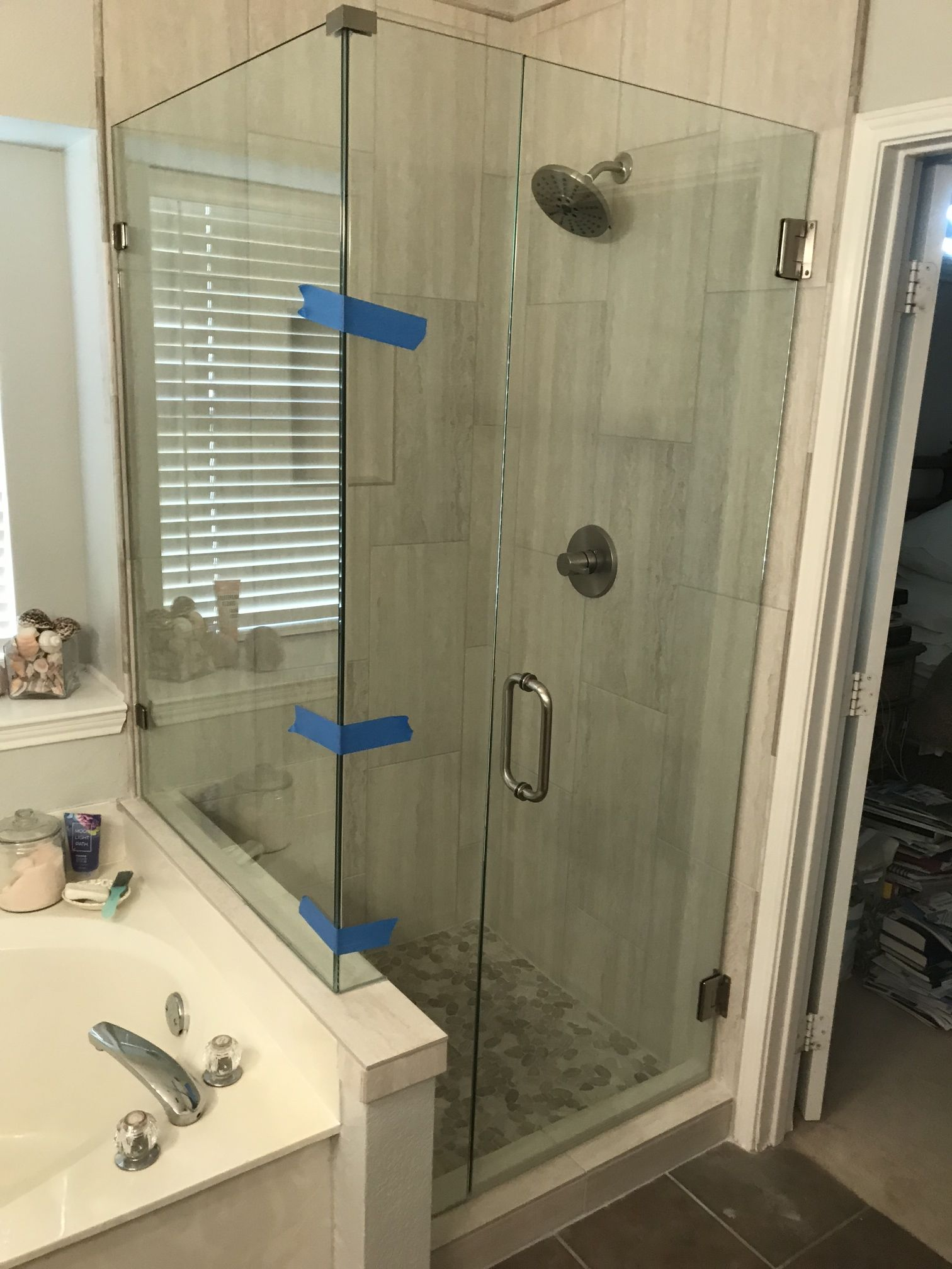 Dallas Bath And Glass Frameless 90 Degree Shower Enclosure With Crl