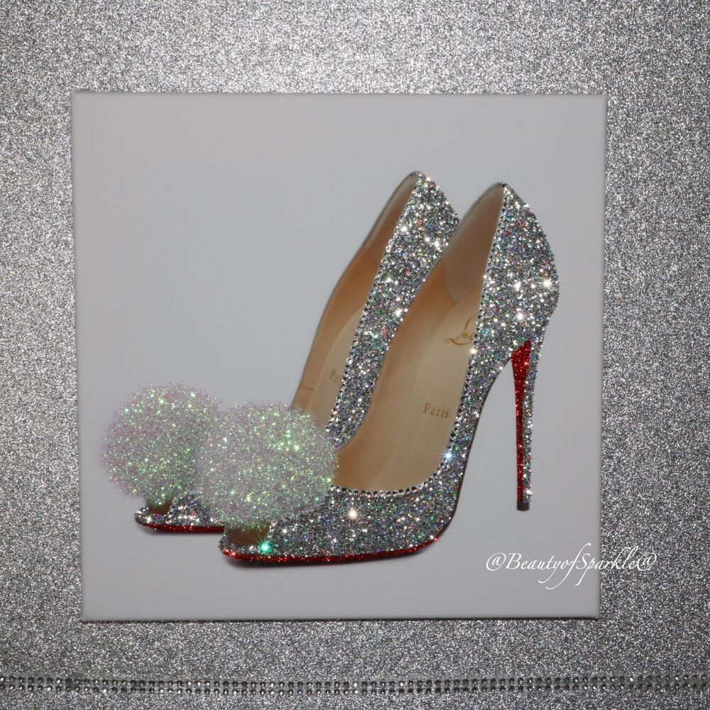 Glamour Sparkle Silver Glitter Shoe Canvas Print Wall Art Any Size Silver Glitter Shoes Glitter Decor Glamour Decor