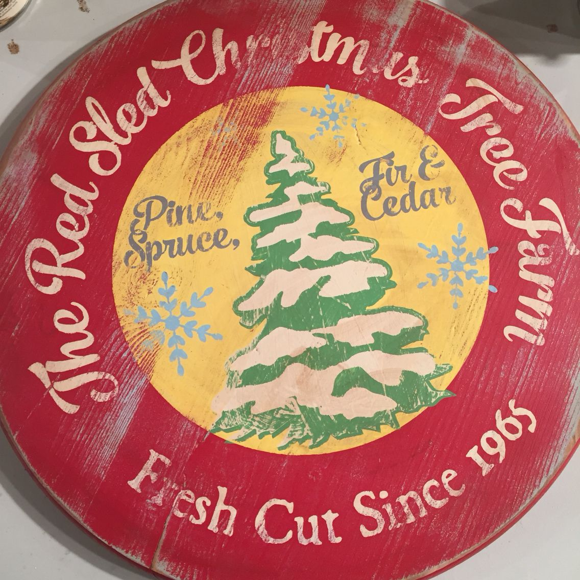 Vintage Christmas Tree Farm Sign by Holly Bliss Vintage