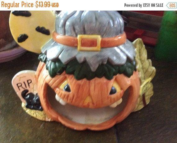 August Sales Vintage Halloween ceramic pumpkin by EMTWTT on Etsy - halloween decorations for sale