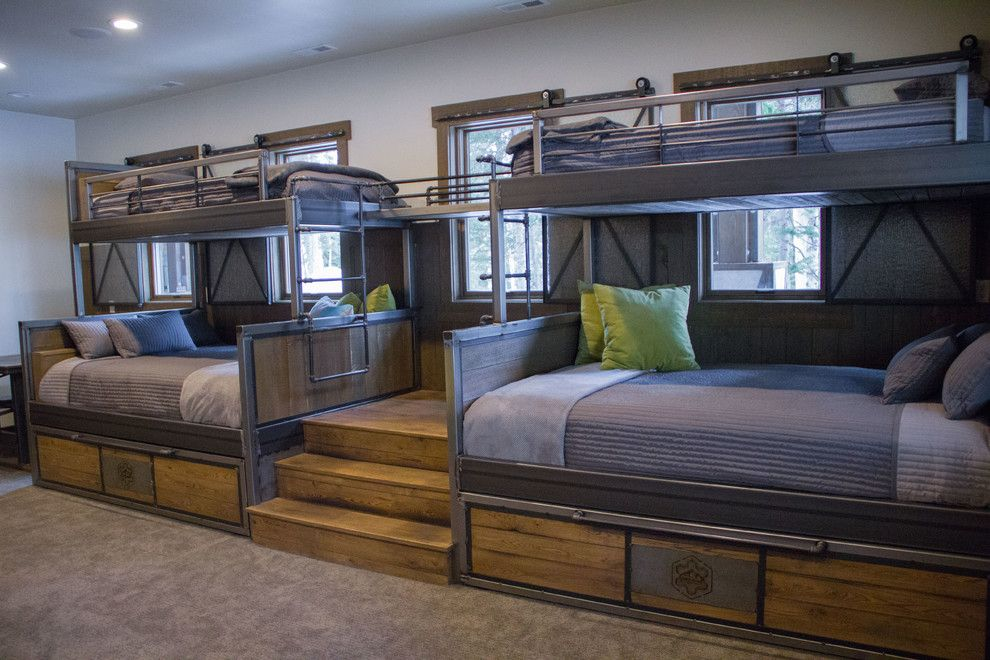 Bunk Beds Room Built In Gray Shiplap Bronze Chandelier West Elm Mobile