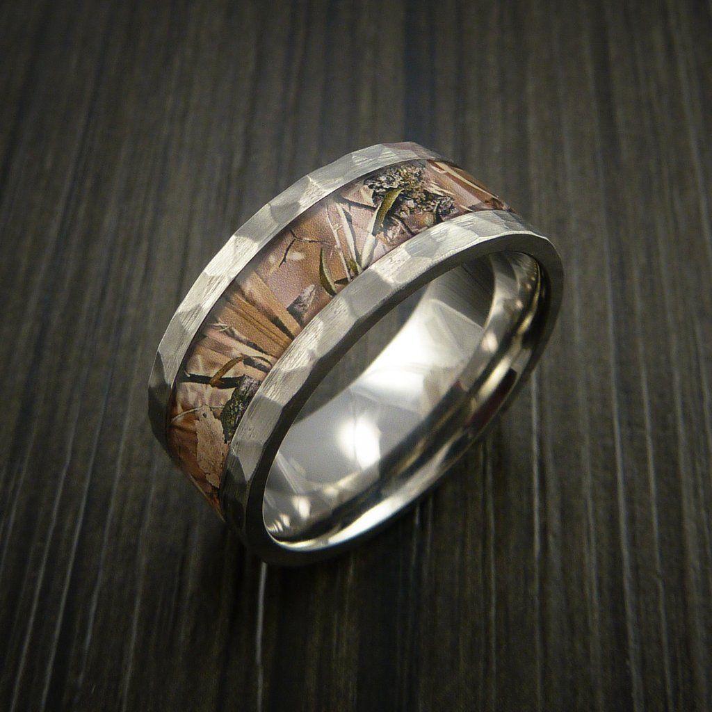 Hammered Titanium Ring with Camo Inlay Custom Made Wedding