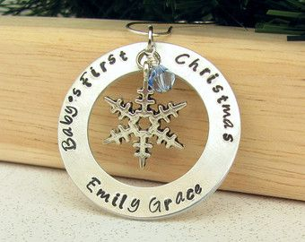 Baby's First Christmas Ornament by FieldandForestDesign on Etsy