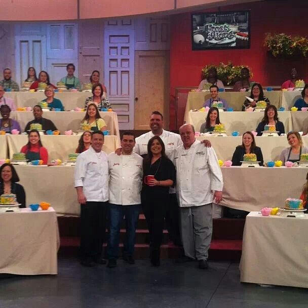 """TLC's Cake Boss on set of Rachael Ray's Show for a """"frost along""""."""