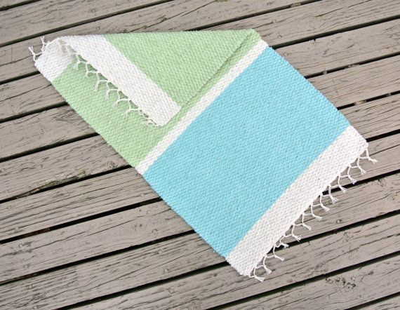 Hand Woven Rug  18 x 30 pear and aqua by WhiteWaveOriginals