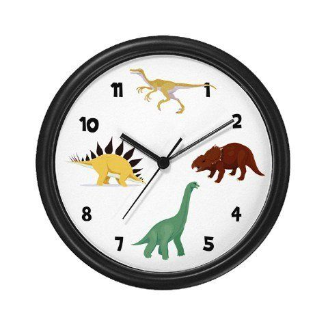 Lightweight Black Plastic Framed Dinosaurs Wall Clock 10 By Baby Laughs 23 99 Decorate Any Room In Your Home Or Office With Wall Clock Clock Dinosaur Wall