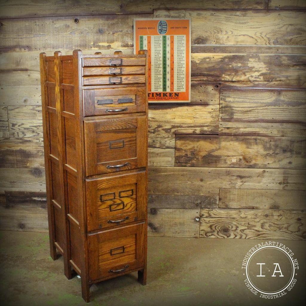 Vintage Weis 7 Drawer Wooden File Cabinet Antique Storage Stuff to
