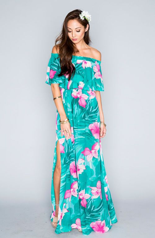 Tropical turquoise luau pinterest robe mod le for Robes pour mariage tropical