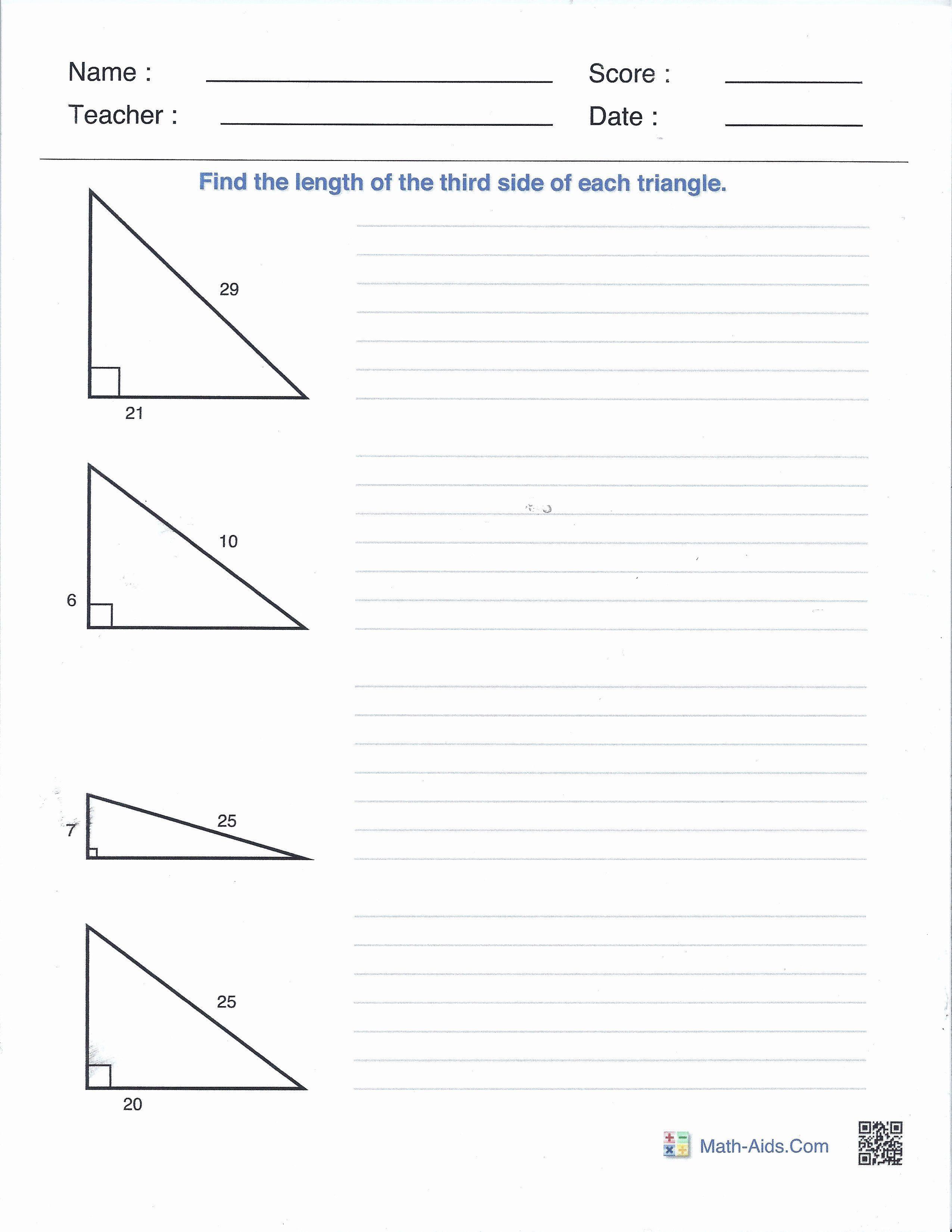 Pythagorean theorem Worksheet with Answers Inspirational Right Angles and  the Pythagore…   Free printable math worksheets [ 3300 x 2550 Pixel ]