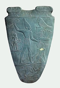 The (King) Narmer Palette, also known as the Great Hierakonpolis Palette or the Palette of Narmer, is a significant Egyptian archeological find, dating from about the 31st century BC, containing some of the earliest hieroglyphic inscriptions ever found.