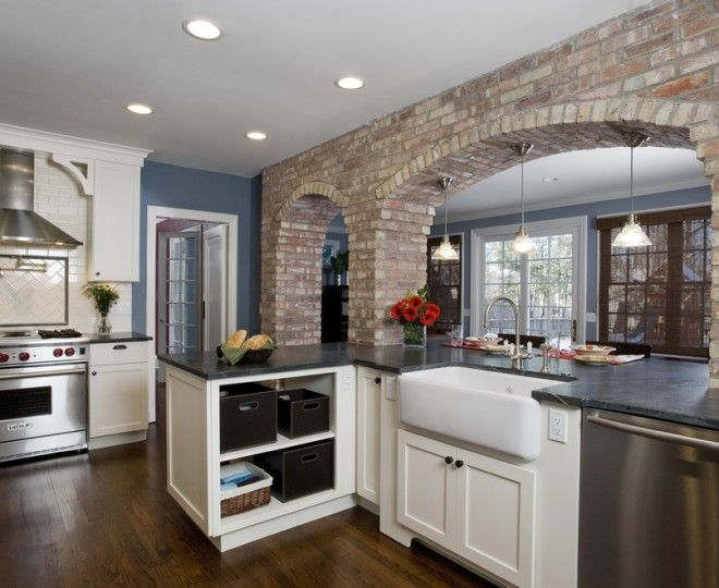 Glamorous Faux Brick Panels look Chicago Traditional ... on Traditional Kitchen Wall Decor  id=86335
