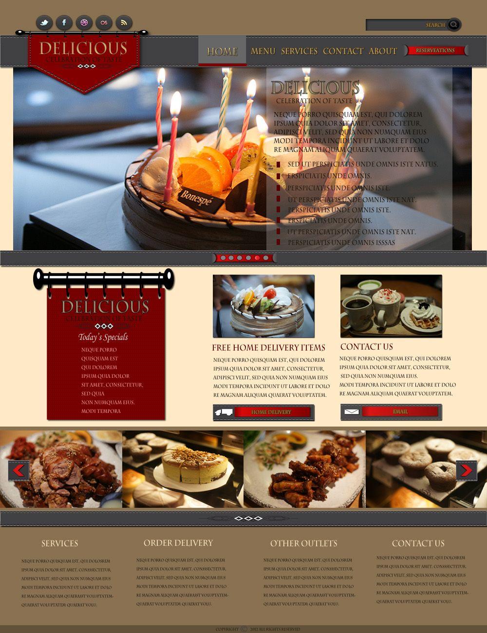 Learn To Make A Restaurant Website Layout In Photoshop Restaurant Website Layout Website Layout Restaurant Website