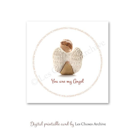 Printable Valentine Card  You are my Angel  by LesChosesArchive