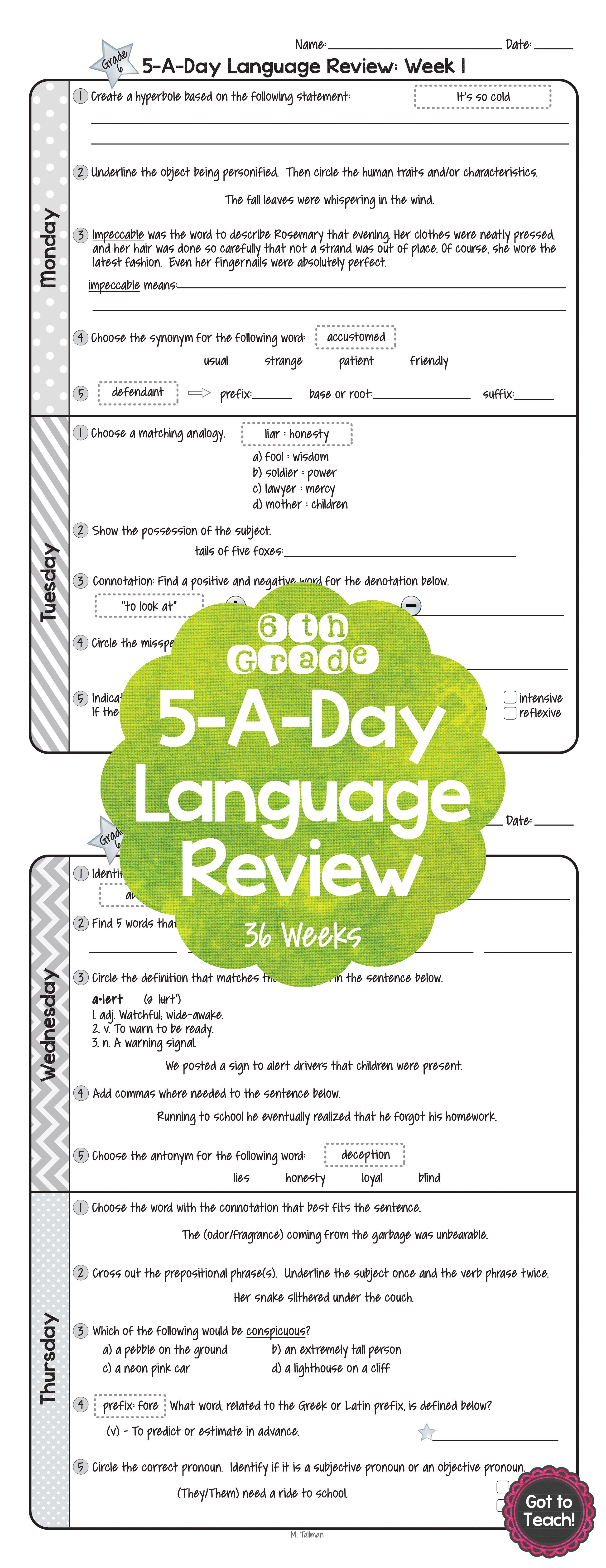 6th Grade Daily Language Spiral Review Morning Work